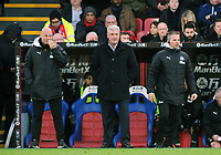 Football - 2019 / 2020 Premier League - Crystal Palace vs. Newcastle United<br /> <br /> Newcastle Manager, Steve Bruce with Coach, Stephen Clemence (right) and ------ left, at Selhurst Park.<br /> <br /> COLORSPORT/ANDREW COWIE