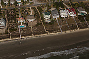 Aerial view of ocean front homes in Sullivan's Island, SC.