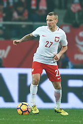 Wroclaw, Poland - 2016 November 14: Jacek Goralski of Poland controls the ball during Poland v Slovenia - International Friendly Soccer Match at Municipal Stadium on November 14, 2016 in Wroclaw, Poland.<br /> <br /> Adam Nurkiewicz declares that he has no rights to the image of people at the photographs of his authorship.<br /> <br /> Picture also available in RAW (NEF) or TIFF format on special request.<br /> <br /> Any editorial, commercial or promotional use requires written permission from the author of image.<br /> <br /> Mandatory credit:<br /> Photo by © Adam Nurkiewicz / Mediasport