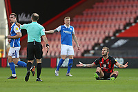 Football - 2020 / 2021 Sky Bet Championship - AFC Bournemouth vs. Birmingham City - The Vitality Stadium<br /> <br /> Bournemouth's Jack Wilshere complains to Referee Mr Jeremy Simpson after being fouled during the first half at the Vitality Stadium (Dean Court) Bournemouth <br /> <br /> COLORSPORT/SHAUN BOGGUST