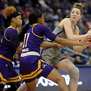 HARTFORD, CONNECTICUT- JANUARY 4: Katie Lou Samuelson #33 of the Connecticut Huskies is defended by Raven Johnson #11 of the East Carolina Lady Pirates and Alexandra Frazier #1 of the East Carolina Lady Pirates during the UConn Huskies Vs East Carolina Pirates, NCAA Women's Basketball game on January 4th, 2017 at the XL Center, Hartford, Connecticut. (Photo by Tim Clayton/Corbis via Getty Images)