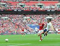 GOAL - Preston North End's Jermaine Beckford scores his sides fourth goal <br /> <br /> Photographer Craig Thomas/CameraSport<br /> <br /> Football - The Football League Sky Bet League One Play-Off Final - Preston North End v Swindon Town - Sunday 24th May 2015 - Wembley Stradium - London<br /> <br /> © CameraSport - 43 Linden Ave. Countesthorpe. Leicester. England. LE8 5PG - Tel: +44 (0) 116 277 4147 - admin@camerasport.com - www.camerasport.com