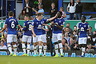 Romelu Lukaku of Everton (10) celebrates with his teammates after scoring his teams 3rd goal. Premier league match, Everton v Middlesbrough at Goodison Park in Liverpool, Merseyside on Saturday 17th September 2016.<br /> pic by Chris Stading, Andrew Orchard sports photography.