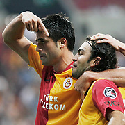 Galatasaray's Gokhan ZAN (L) celebrate his goal with team mate during their Turkish Super League soccer match Galatasaray between Eskisehirspor at the TT Arena at Seyrantepe in Istanbul Turkey on Monday, 26 September 2011. Photo by TURKPIX