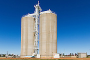 Grain silos rail transport depot in Wallumbilla in rural country Queensland, Australia. <br />