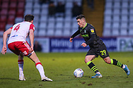 Forest Green Rovers Jack Aitchison(29), on loan from Celtic takes ion Stevenage's Paul Digby(4) during the EFL Sky Bet League 2 match between Stevenage and Forest Green Rovers at the Lamex Stadium, Stevenage, England on 26 December 2019.