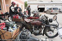 Cannonballers at the Gap Express gas stop in Cameron, AZ during the Motorcycle Cannonball Race of the Century. Stage-12 ride from Page, AZ to Williams, AZ. USA. Thursday September 22, 2016. Photography ©2016 Michael Lichter.