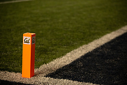 An end zone pylon indicates the home team, seen during the third quarter of an NCAA college football game, Saturday, Sept. 4, 2021, in Berkeley, Calif. (AP Photo/D. Ross Cameron)