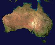 Composite satellite photograph of Australia.