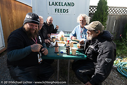 Clint, Bartel, Todd, Doug and Rich on a lunch break during the Motorcycle Cannonball coast to coast vintage run. Stage 13 (254 miles) Kalispell, MT to Spokane, WA. Friday September 21, 2018. Photography ©2018 Michael Lichter.