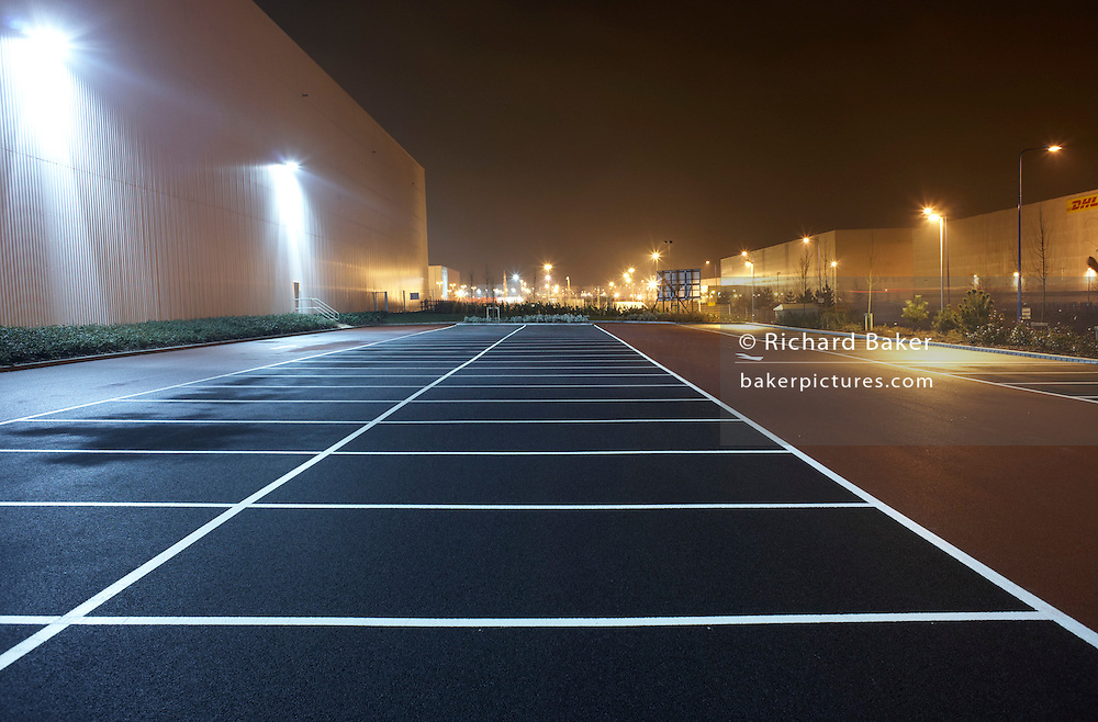 Warehouse car park landscape at night at the DIRFT logistics park in Daventry, Northamptonshire