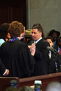 Chief Judge Judith S. Kaye  adminster oath of office to Governor David A. Patterson at the Swearing-in of the Honorable David A. Patterson at the 55th Governor of New York  at The New York State Capitol in the Assembly Chambers on March 17, 2008