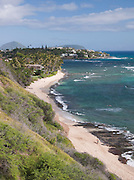 Surf on the coastline at Maunalua Bay, O'Ahu, Hawai'i
