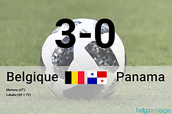 June 18, 2018 - Sochi, RUSSIA - Infographic in French regarding the 3-0 result of the first round soccer match between Belgian national soccer team the Red Devils and Panama in Group G of the FIFA World Cup 2018, in Sochi, Russia, Monday 18 June 2018. ..BELGA PHOTO DIRK WAEM / ILSE KETELE (Credit Image: © Dirk Waem/Belga via ZUMA Press)