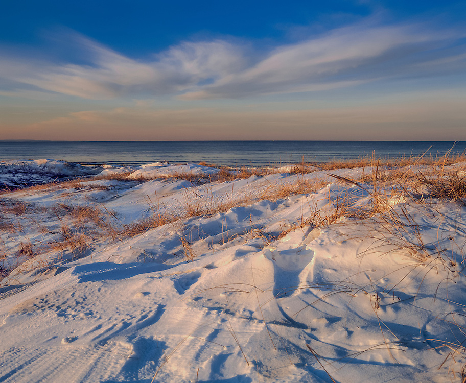 Snow covered dunes, Sandyneck and Cape Cod Bay, Barnstable, MA