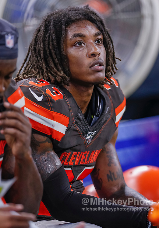 INDIANAPOLIS, IN - AUGUST 17: Sheldrick Redwine #33 of the Cleveland Browns is seen during the preseason game against the Indianapolis Colts at Lucas Oil Stadium on August 17, 2019 in Indianapolis, Indiana. (Photo by Michael Hickey/Getty Images) *** Local Caption *** Sheldrick Redwine