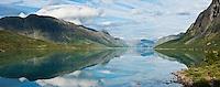 Reflection on lake Gjende, Gjendesheim, Jotunheimen national park, Norway