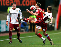 Photo: Tom Dulat/Sportsbeat Images.<br /> <br /> Charlton Athletic v Burnley. Coca Cola Championship. 01/12/2007.<br /> <br /> Jon Harley of Burnley and Matt Holland of Charlton Athletic fight for the ball.