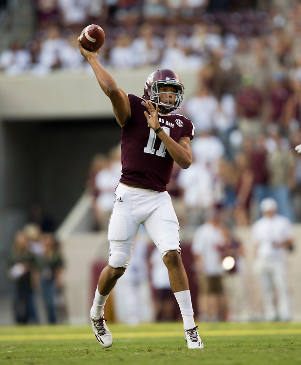 Texas A&M quarterback Kellen Mond (11) passes down field against Nicholls State during the first quarter of an NCAA college football game Saturday, Sept. 9, 2017, in College Station, Texas. (AP Photo/Sam Craft)