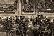 Henry Bessemer (1813-1893) English engineer inventor and industrialist, being presented with the freedom of Turner's Company, a London livery company.  Among his inventions were the Bessemer steel process and the  Bessemer converter.  From 'The Illustrated London News' (London, 8 May 1880). Engraving.