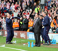 Photo: Mark Stephenson/Richard Lane Photography. <br /> Sheffield United v Cardiff City. Coca-Cola Championship. 19/04/2008. <br /> Bristol's manager Gary Johnson looks on after the game while  Sheffield's manager Kevin Blackwell (L) celebrates