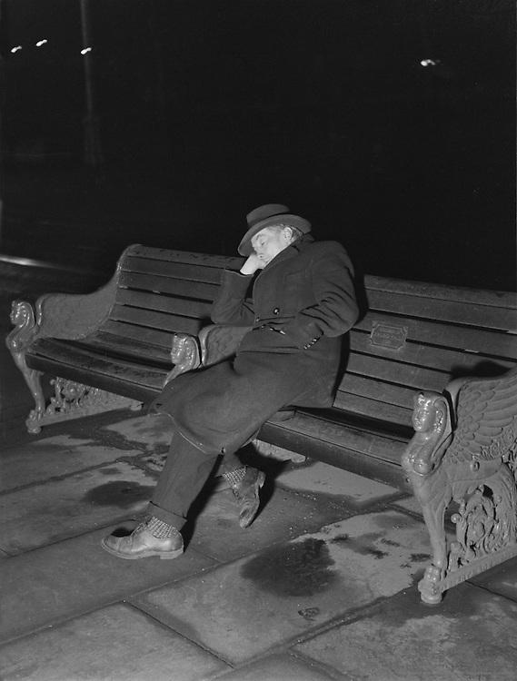 Unemployed, Asleep on Bench, London, 1935