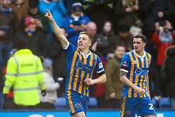 Greg Docherty of Shrewsbury Town celebrates scoring a goal to make it 1-0 - Mandatory by-line: Robbie Stephenson/JMP - 26/01/2019 - FOOTBALL - Montgomery Waters Meadow - Shrewsbury, England - Shrewsbury Town v Wolverhampton Wanderers - Emirates FA Cup fourth round