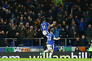 Theo Walcott of Everton (11) celebrates after scoring his teams 2nd goal. Premier league match, Everton v Leicester City at Goodison Park in Liverpool, Merseyside on Wednesday 31st January 2018.<br /> pic by Chris Stading, Andrew Orchard sports photography.