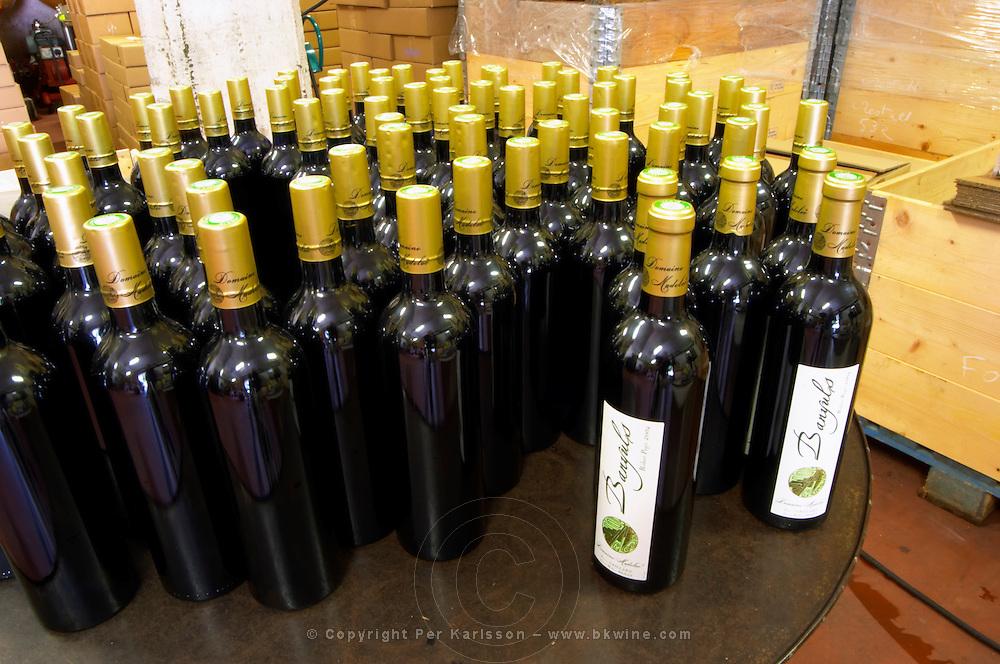 Domaine Madeloc, Banyuls sur Mer. Roussillon. Bottle cellar. France. Europe. Bottle.