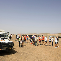 24 March 2007:  Runners present themselves to the race administrators for the administrative and technical formalities the day before the beginning of the 22nd Marathon des Sables, a 6 days and 151 miles endurance race with food self sufficiency across the Sahara Desert in Morocco. Each participant must carry his, or her, own backpack containing food, sleeping gear and other material.
