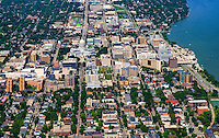 Downtown Madison featuring Wisconsin State Capitol (center) and Monona Terrace (right) by Lake Monona