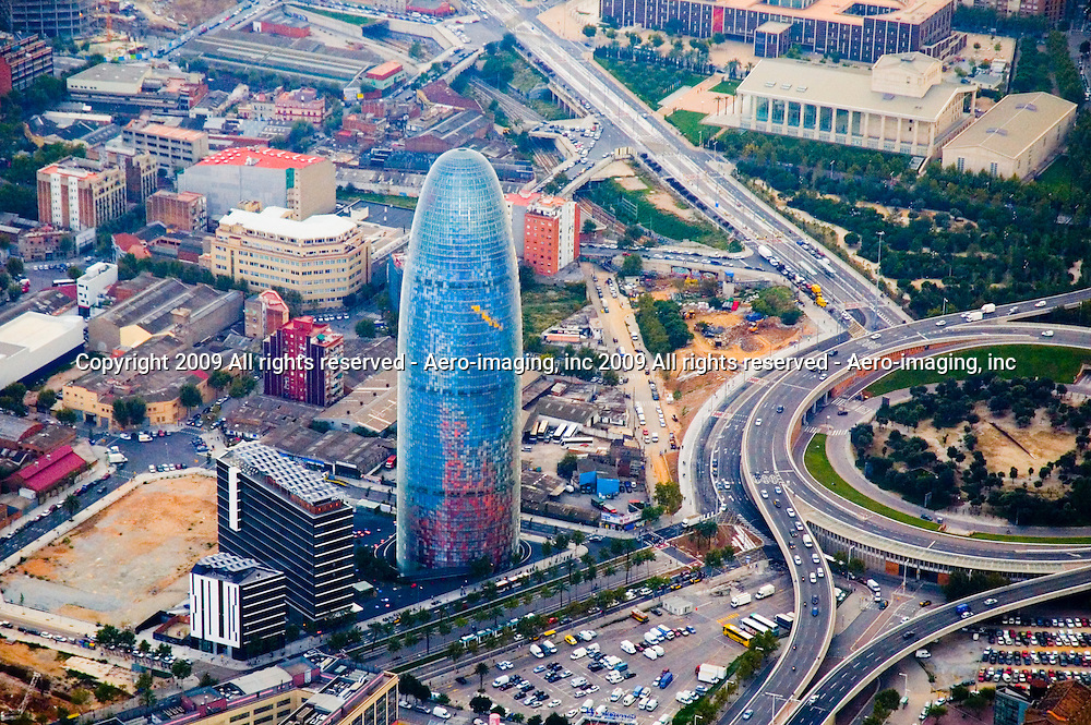 Aerial view of the The Torre Glòries, formerly known as Torre Agbar Barcelona Spain