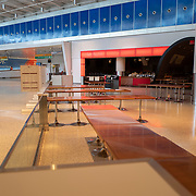 Restaurants at the JetBlue terminal at JFK Airport remain sparse during the Phase 4 reopening on Wednesday August 5, 2020 in New York, New York. Mayor de Blasio is asking travelers from 34 states and Puerto Rico, where COVID-19 infection rates are high, to quarantine for 14 days after arriving in the city.  (Alex Menendez via AP)