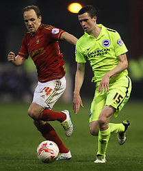 David Vaughan of Nottingham Forest (L) and Jamie Murphy of Brighton & Hove Albion in action - Mandatory by-line: Jack Phillips/JMP - 11/04/2016 - FOOTBALL - City Ground - Nottingham, England - Nottingham Forest v Brighton and Hove Albion - Sky Bet Championship