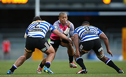 Ruwellyn Isbell of the Pumas attempts to get past Michael Willemse of Western Province and Nizaam Carr of Western Province during the Currie Cup Premier Division match between the DHL Western Province and the Pumas held at the DHL Newlands rugby stadium in Cape Town, South Africa on the 17th September  2016<br /> <br /> Photo by: Shaun Roy / RealTime Images