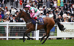 Wilamina ridden by Jockey Frankie Dettori goes to post for the Duke Of Cambridge Stakes