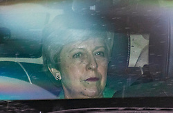 © Licensed to London News Pictures. 18/06/2019. London, UK. Prime Minister Theresa May arrives at Parliament for the second round of voting on the next Leader of the Conservative Party. Candidates will take part in a live TV debate this evening. Photo credit: Rob Pinney/LNP