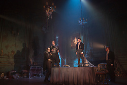 "© Licensed to London News Pictures. 04/02/2013. London, England. L-R: James Vaughan as Wopsle, Jack Ellis as Jaggers, Taylor Jay-Davies as Young Pip and Paul Nivison as Adult Pip. A new stage adaptation of Charles Dickens's ""Great Expecations"" will open at the Vaudeville Theatre, London, on Wednesday, 6 February 2013. It is the first ever full-scale stage play of Great Expectations in either the West End or on Broadway. Adaptation by Jo Clifford, directed by Graham McLaren. Photo credit: Bettina Strenske/LNP"