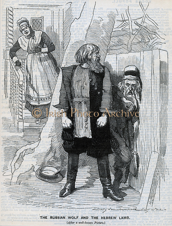 Persecution of Jews in Russia. Cartoon from 'Punch', London, 1890.