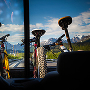 Driving along the Seward Highway during a mountain bike trip in Alaska.