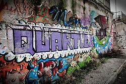 Potenza (PZ), 23-11-2010 ITALY - Il quartiere Bucaletto. Bucaletto è un quartiere popolare della periferia est di Potenza. Fu progettato all'indomani del terremoto dell'Irpinia del 23 novembre 1980, per risolvere i problemi delle famiglie sfollate a causa dei crolli di alcune abitazioni della città, difatti è caratterizzato dalla presenza di abitazioni singole, in prefabbricati..Nella Foto: Un murales del quartiere.