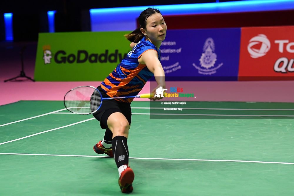 BANGKOK, THAILAND - MAY 25: Lee Jang Mi of South Korea in acrtion on Court 1 during her Semi-Finals match against Nozomi Okuhara of Japan at the BWF Total Thomas and Uber Cup Finals 2018, Impact Arena , Bangkok, Thailand on May 25, 2018.<br /> .<br /> .<br /> .<br /> Photo by: Naratip Golf Srisupab/SEALs Sports Images<br /> <br /> .<br /> All photo must include a credit line adjacent to the content: Naratip Golf Srisupab/SEALs Sports Images