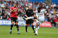 Leroy Fer of Swansea city has a shot at goal.  Premier league match, Swansea city v Manchester Utd at the Liberty Stadium in Swansea, South Wales on Saturday 19th August 2017.<br /> pic by  Andrew Orchard, Andrew Orchard sports photography.