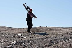 04.11.2011, Moelltaler Gletscher, Flattach, AUT, DSV Medientag, im Bild Betreuer Croatisches Ski Team trägt die Ski vom Gletscher zum Bergrestaurant // During media day of German Ski Federation DSV at Moelltaler glacier in Flattach, Carinthia, Austria on 4/10/2011. EXPA Pictures © 2011, PhotoCredit: EXPA/ J. Groder