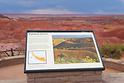 Sign indicating the features of the Painted Desert, part of the Badlands Park