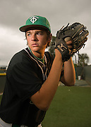 Thousand Oaks' pitcher Jackson Simonsgaard poses for a portrait at Thousand Oaks High School on March 25, 2014.