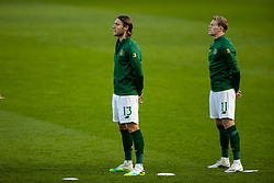 DUBLIN, REPUBLIC OF IRELAND - Sunday, October 11, 2020: Republic of Ireland's Jeff Hendrick and James McClean sing the national anthem before the UEFA Nations League Group Stage League B Group 4 match between Republic of Ireland and Wales at the Aviva Stadium. The game ended in a 0-0 draw. (Pic by David Rawcliffe/Propaganda)