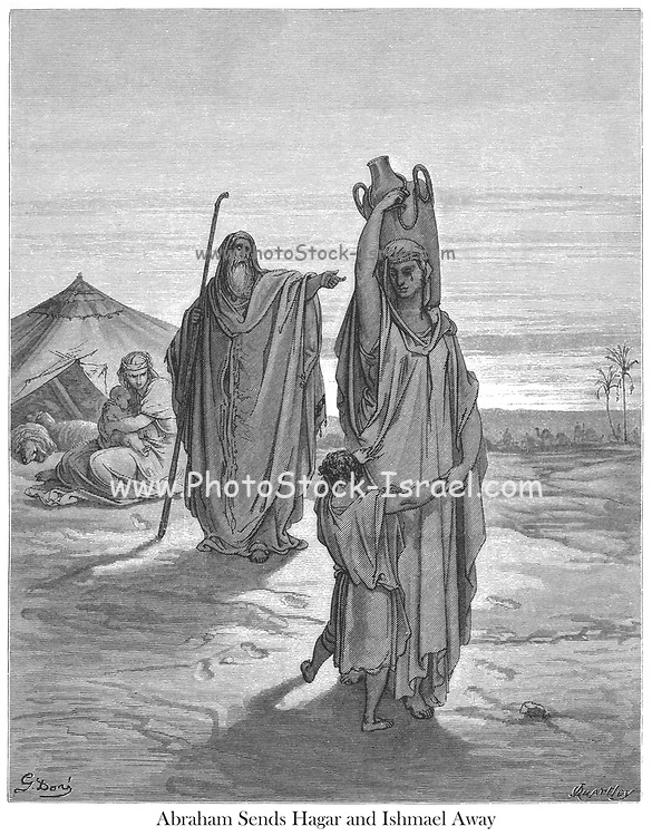 Abraham send Hagar and Ishmael away Genesis 21:14 From the book 'Bible Gallery' Illustrated by Gustave Dore with Memoir of Doré and Descriptive Letter-press by Talbot W. Chambers D.D. Published by Cassell & Company Limited in London and simultaneously by Mame in Tours, France in 1866