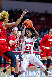 NORMAL, IL - February 07: Juliunn Redmond defended by Nyjah White during a college women's basketball game between the ISU Redbirds and the Braves of Bradley University February 07 2020 at Redbird Arena in Normal, IL. (Photo by Alan Look)