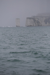 UK ENGLAND POOLE 22FEB19 -Old Harry Rocks on the Dorest coast in foggy weather. The Ensco 72 rig is chartered by to drill one exploratory well about four nautical miles off the Dorset coast.<br /> <br /> <br /> <br /> Photo by Jiri Rezac / Greenpeace<br /> <br /> <br /> <br /> © Jiri Rezac 2019